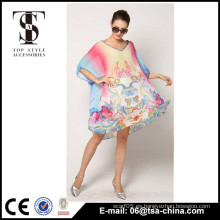 Nuevas señoras de gran tamaño V cuello Hot Sale OEM atractivo cubrir hasta Beach Dress beachwear
