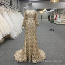 Gold Evening Dresses Long Sleeve Party Wear Gowns Sexy Prom Dress Mermaid Formal Dress Gown for Special Occasion