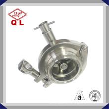 Нержавеющая сталь Гигиенический пружинный обратный клапан с обратным клапаном с отводом