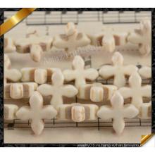 Белый синтетический бирюзовый крест бисера, синтетические ювелирные изделия (GB0115)