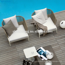Promotional nice quality outdoor rope webbing furniture sofa set for garden use
