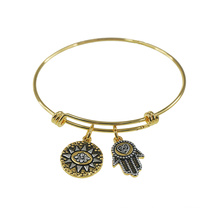 Expandable Barbell Engraved Charm Wrapped Wire Bangle