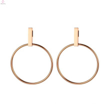 Simple Round Shaped Circle Rose Gold Geometric Earrings