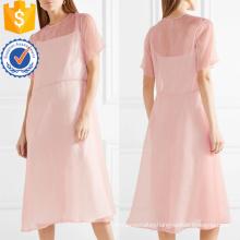 Hot Sale Pink Short Sleeve Midi Summer Dress Manufacture Wholesale Fashion Women Apparel (TA0324D)