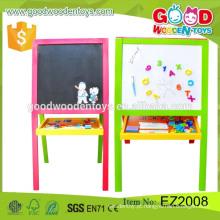 Hot Sale pré escolar educacional Learning Drawing Board madeira artista cavalete para crianças
