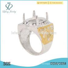Einfache Edelstahl Silber & Gold Ring Designs Herren Indonesien Ringe, Phantasie Ringe
