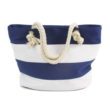Attraktiva vita blåa randar Canvas Beach Bags