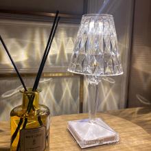 Luz de mesa de cristal llevada recargable portátil de acrílico del hotel