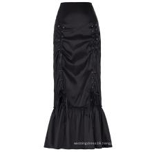 Belle Poque Women's Vintage Retro Gothic Victorian Style N/T taffeta Long Black Ruched Skirt BP000208-1