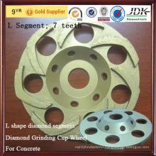 for Concrete L Shape Diamond Segment Diamond Grinding Cup Wheel
