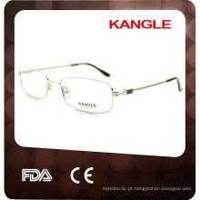 2017 New Young Man óculos óculos clássicos em metal de couro, armação óptica de metal