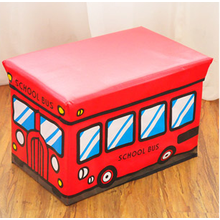 PU Leather Kids Storage Stool With red Color