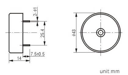 43mm piezo buzzer with pin