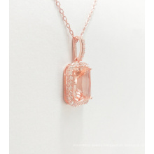 Fashionable 925 Sterling Silver Dubai Style Jewelry Inlaid Stone Pendant Gold Plated Necklace