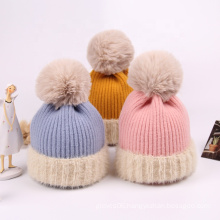 New Arrival Winter Warm Solid Color Baby Knitted Hat Toddler Children Pompom Acrylic Soft Feeling Cute Hats