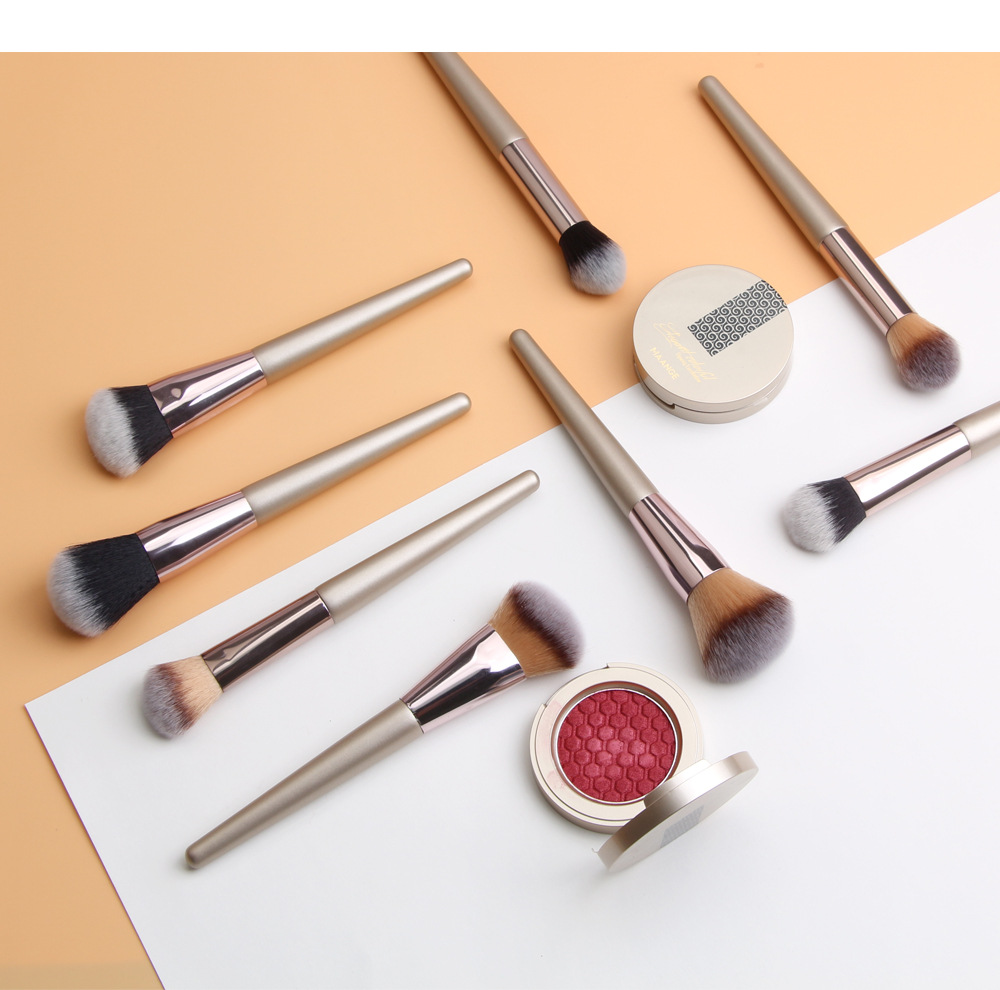 4 Piece Champagne Gold Makeup Brushes set 4