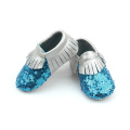 Venta al por mayor Shining Fancy Sequins Mocasines de cuero para bebés
