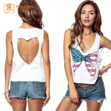 Feminino Back Love Backless Bow Imprimir Regatas