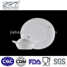 A004 White fine bone china ceramic soup bowl with lid