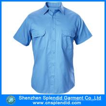 Camisas de algodão azul claro de alta qualidade para homem com manga curta