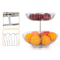 Fashionable 304 stainless steel metal 2 tier wire fruit basket
