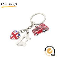 Survenir Gift Customized English Bus Metal Oil Color Key Chain Holder