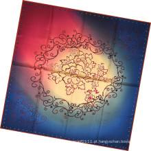 Lenço quadrado de seda impressa da senhora flor moda (hc1310)
