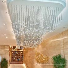 Lustre à boule de cristal suspendu de luxe pour hôtel