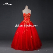RQ077 Wholesale Bandage 2015 Wedding Gowns Gold Embroidery Red Wedding Dresses