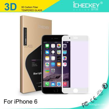 Venda al por mayor el protector suave de la pantalla del borde suave de la fibra de carbono del marco del color de la cobertura de 0.26mm para el iPhone 6