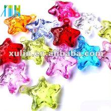 Wholesale transparent mixed color little star acryilc heart beads