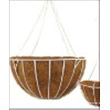 Panier suspendu en fer forgé avec doublure et chaine de coco