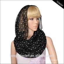 Полиэстер вуаль шарф изготовленный на заказ обслуживания печатания христианский крест напечатано петли шарф на Рождество