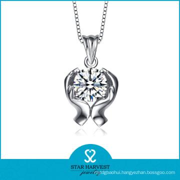 AAA Zircon Rhodium Plated Wholesale Necklace (N-0209)