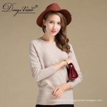 Plus Size col rond blanc couleur dernière conception hiver 100% pull en cachemire tricoté femmes