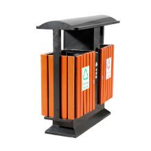 Cubo de basura al aire libre del acero inoxidable de la madera (A6501)