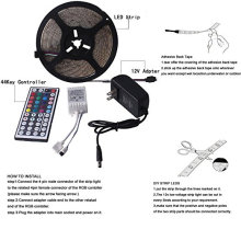 LED Strip Light Set Kit 3528 Non-Waterproof RGB Multi Color Light, Flexible 300 Leds with 44 Key IR Remote Power Adapter
