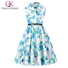 Grace Karin Kids 'Holly' Vintage 50's Dress Retro Vintage Sleeveless Lapel Collar Girls Summer Dress CL009000-6