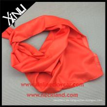90x90CM dobladillo hecho a mano 100% poliéster Sencillo seda sintética naranja infinito bufanda