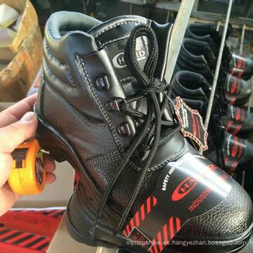 Zapatos de seguridad de cuero de trabajo industrial (cuero de la PU + suela de goma)