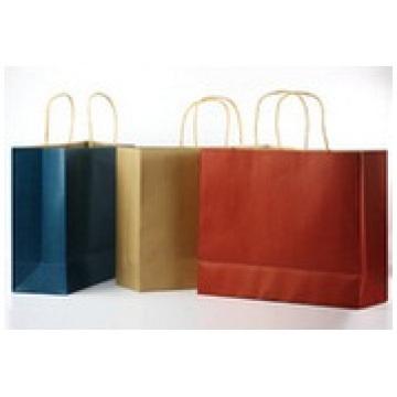 Sacos de papel com logotipo personalizado, saco de papel marrom portátil para presente