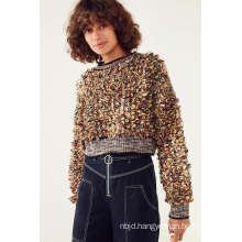 Blue Boucle Pullover Cropped Sweater