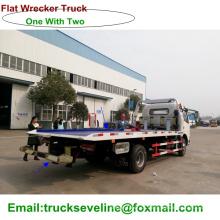 Um com duas cama lisa reboque Wrecker caminhão para a venda