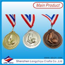 Medalla de fútbol 3D de aleación de zinc Medalla de bronce dorado de oro fundido, medalla con su propio logotipo