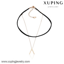 43613 wholesale fashion ladies jewelry inverted V chain design leather choker necklace