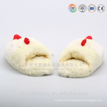 Funny and warm plush animal head chicken slippers