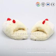 Chinelos de frango de cabeça animal engraçado e quente de pelúcia