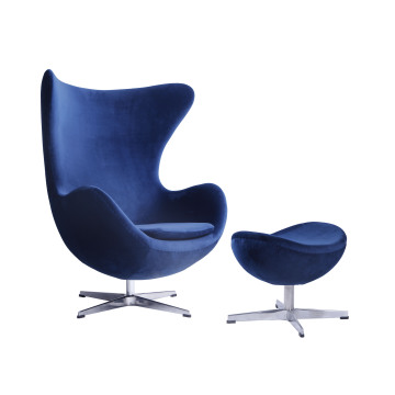 Terciopelo azul Arne Jacobsen Egg Chair Replica