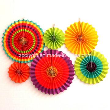 Faltbare Party Dekoration Hanging Handmade Papier Rad Fan Blumen mit Seil und Aufkleber