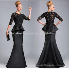 2017 Best Selling Sexy O-Neck Half Sleeves Ruffles Lace Appliques Beaded Black Mermaid Mother Of The Bride Dresses MM921
